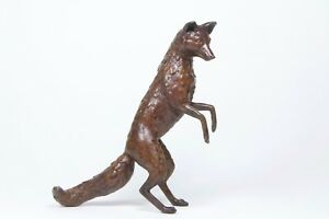 Solid Bronze  - Fox Standing - New - Gift Boxed
