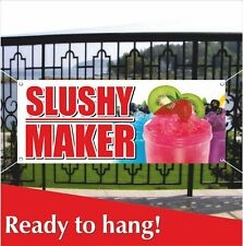 SLUSHY MAKER Advertising Vinyl Banner / Mesh Banner Sign Flag Ice Cone Slush