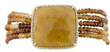 14K Yellow Gold Sapphire Slice Natural Hessonite Beaded & Diamond Bezel Bracelet