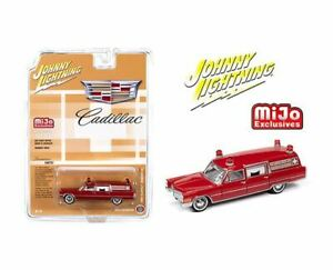 JOHNNY LIGHTNING 1:64 MIJO EXCLUSIVES MILLER-METEOR RED 1966 CADILLAC AMBULANCE