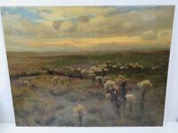 Phantastisches Gemälde einer Baumwollandschaft unleserlich Monogrammiert um 1900