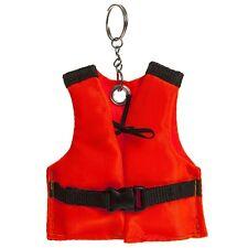Mini Neon Orange Keyring Life Vest Floating Key Safe Holder Pool Sea Ocean Boat