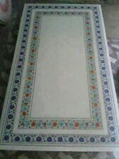 SIZE 3'X2' WHITE MARBLE DINING ROOM COFFEE CORNER CENTER TABLE TOP INLAY MOSAIC