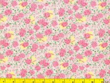 Light Red Roses w/ Pink Flowers on Off White Quilting Fabric by Yard  #531