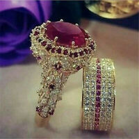 2pcs/Set Noble Exquisite Women 18K Gold Ring Ruby Ring Set Wedding Gift Jewelry