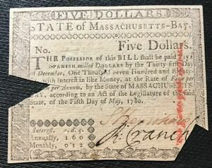 """1780 MASSACHUSETTS-BAY $5 COLONIAL NOTE/CU-CANCELLED w""""UNITED STATES"""" WATER MARK"""