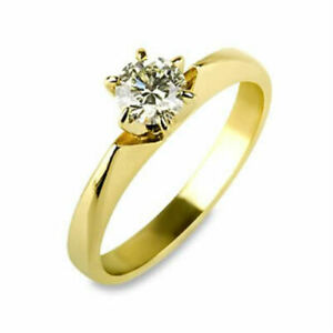 SOLITAIRE ROUND CUT AUTHENTIC 0.7 CT DIAMOND 18K YELLOW GOLD BETROTHAL RING NIB