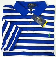NWT $95 Ralph Lauren Performance Polo Shirt Mens Blue Stripe Wicking Small NEW