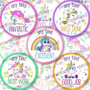Personalised Reward Stickers Unicorn Girls Well Done Labels Gloss School Teacher