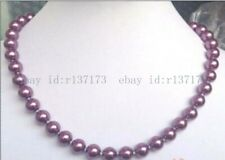 Charming 8mm Purple South Sea Shell Pearl Round Beads Necklace 18''