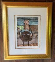 "Graciela Rodo Boulanger Lithograph. ""Bull Ride"" Professionally framed."