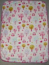 "Circo Pink Baby Blanket Velour Owls Trees Birds Nubby Fleece Back 30"" x 40"""