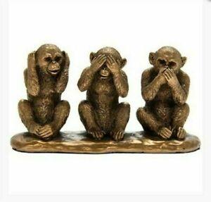 Bronzed 3 Wise Monkeys  Hear See speak No Evil Jungle Ornament