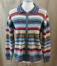 Tiara International, Small, Multi Stripe Zippered Cardigan