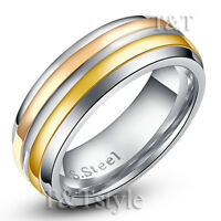 TT Tri-Tone Gold Rose Gold Stripe Stainless Steel Wedding Band Ring (R192)