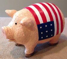 "Patriotic Pig Figurine American Flag July 4th Stars and Stripes 5""Lx4""Hx3""W Cute"