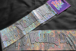 3 X FOIL WEDDING DAY BANNERS / WALL BANNERS /HAPPY WEDDING DAY/ PARTY DECORATION