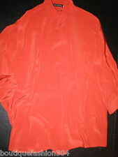 New Womens Josie Natori XS NWT Silk Blouse Top Bright Orange Batwing 3/4 Sleeve