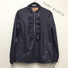 TORY BURCH Navy Blue Ruffle Front Libbet Pull Over Windbreaker Jacket Size 0