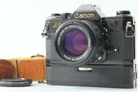 [Exc+4] Canon AE-1 Black Film Camera NFD 50mm F1.4 Lens w/ Winder Strap JAPAN