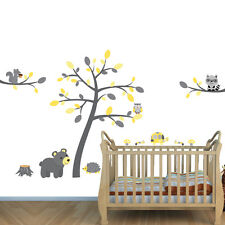 Forest Animal Kids Mural, Nursery for Boy or Girl, Bear Squirle Tutle Decal