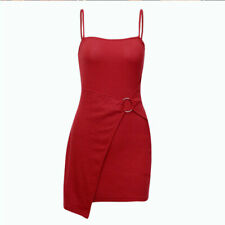 Solid Colour Irregular Mini Bodycon Dress Women's Fashion Metal Ring Rib Strap