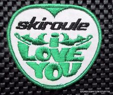 """SKIROULE SNOW MOBILE EMBROIDERED SEW ON PATCH I LOVE YOU NOS 3 1/4"""" x 3"""""""