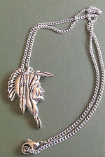 Pewter pendant, American Indian design, hand made, 17.5 surgical steel chain
