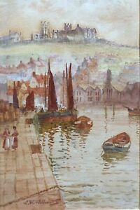 John Wynne Williams Signed Original Antique Watercolour Seascape Painting Whitby