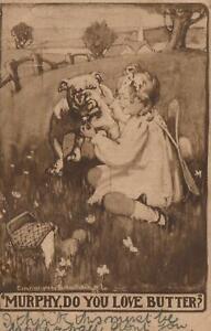 1909 VINTAGE MURPHY, do you LOVE BUTTER BULLDOG, GIRL & BUTTERCUPS POSTCARD