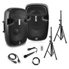 "Pyle PPHP849KT Dual 8"" Active + Passive PA Speaker System Kit, 700 Watt Black"