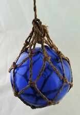 ANTIQUE REPRODUCTION COBALT BLUE GLASS FISHING FLOAT NAUTICAL DECOR WOVEN ROPE