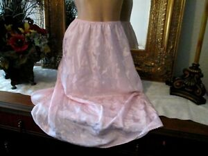 Vtg Deena Pink satin embossed half slip petticoat Lingerie size Medium