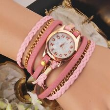 Womens Multilayer Faux Leather Bracelet Quartz Watch PINK - PRICE REDUCED