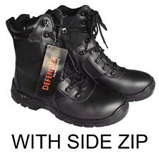 MILITARY PATROL BLACK LEATHER ZIP COMBAT BOOTS SIZE 6 7 8 9 10 11 12 13 RRP £40