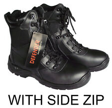 NEW MILITARY PATROL BLACK LEATHER COMBAT BOOTS SIZE 6 7 8 9 10 11 12 13 RRP £40