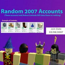 2007 RARE RANDOM UNVERIFIED ROBLOX ACCOUNTS 0-10K RAP