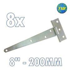 "8PK 8"" Tee Hinges 200mm Cabinet Shed Door & Gate T Hinge + Galvanised Finish"