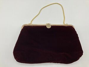 Vintage Red Velvet Evening Clutch Bag Handbag With Gold Chain Made In Hong Kong