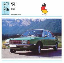 NSU Ro 80 Wankel 1967-1974  Germany Allemagne CAR VOITURE CARTE CARD FICHE