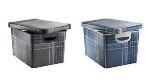 Curver Tartan Effect Storage Boxes 22L Storage IML Print Grey & Blue Designs