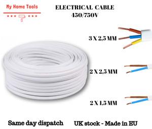 2, 3 CORE ELECTRICAL FLEX Flat CABLE WIRE 1.5mm, 2.5mm WHITE - BASEC APPROVED