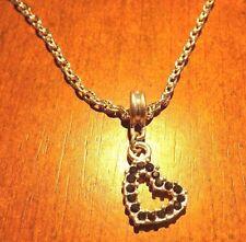 collier chaine argenté 46,5 cm avec pendentif coeur strass noir 20x18mm