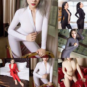 Women Striped Sheer Bodysuit Zipper Long Sleeve Open Crotch Jumpsuit Romper JA3