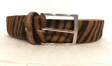 MANETTI  Italy Women's Belt Genuine LEATHER FAUX Fur Striped 46/115 Silver Tone