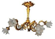 Lustre en bronze doré Napoléon III à tulipes XIXème
