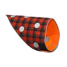 SPOT THE DOG! Reversible Reflective Red and Black Plaid and Orange Dog Bandana