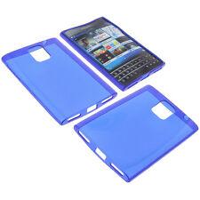629b427161e Funda para Blackberry Passport Protectora de Móvil TPU Goma Azul Oscuro