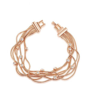 Mother's Day Gift White Topaz Gems Rose Gold Plated Multi Strand Chain Bracelets