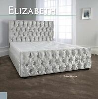 Elizabeth High Quality Fabric Bed 3FT 4FT6 5FT 6FT Headboard + Colour Options